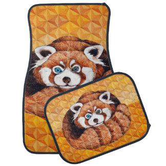Tapis De Sol Panda rouge sur le cubisme orange Geomeric