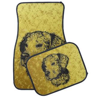 Tapis De Sol Portrait de chiot de golden retriever en noir et