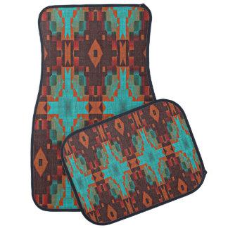 Tapis De Sol Regard ethnique éclectique turquoise de rouge