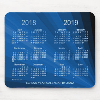 Tapis De Souris 2018-2019 calendrier bleu d'année scolaire de fan