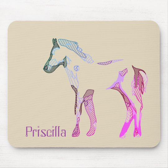 Tapis De Souris Abstract horse drawing in blue purple and pink