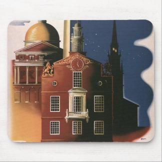 Tapis De Souris Affiche vintage de voyage de Boston, le