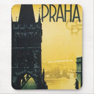 Tapis De Souris Affiche vintage de voyage de Prague