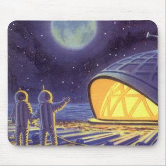 Tapis De Souris Aliens vintages de la science-fiction sur la lune