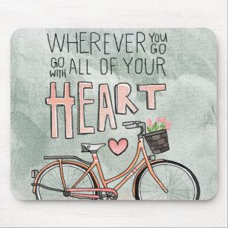 Tapis De Souris Allez avec tout votre coeur - bicyclette vintage