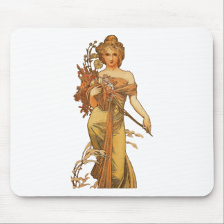 Tapis De Souris Alphonse Mucha - Madame Holding Flowers