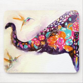 """Tapis De Souris """"Amis enchanteurs"""" colibri et éléphant"""