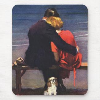 Tapis De Souris Amour romantique vintage, Romance sur la plage