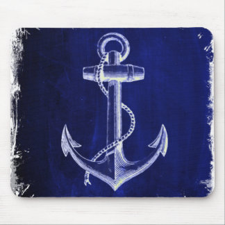 Tapis De Souris ancre nautique chic côtière de bleu marine de