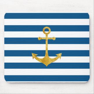 Tapis De Souris ancre nautique d'or sur les rayures bleues