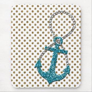 Tapis De Souris Ancre nautique impressionnante de bleu de paon de