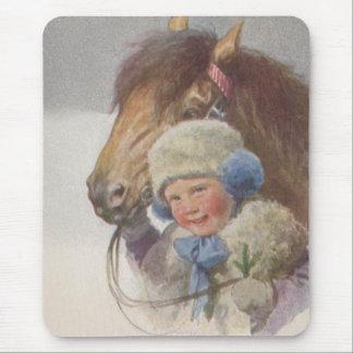 Tapis De Souris Animal familier vintage de poney de baie de