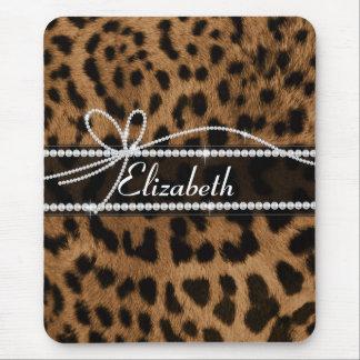 Tapis De Souris Animal girly chic à la mode de léopard de noir de