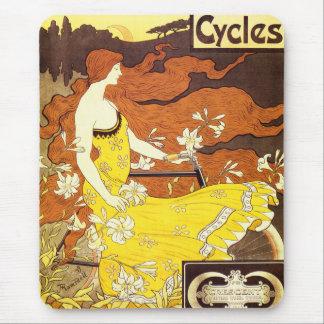 Tapis De Souris Annonce vintage de bicyclette de Nouveau d'art