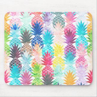 Tapis De Souris Aquarelle tropicale de motif hawaïen d'ananas