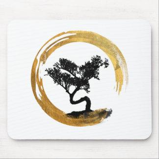Tapis De Souris Arbre de bonsaïs. Cercle d'Enso de zen. Art
