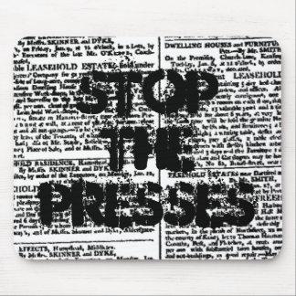 Tapis De Souris Arrêtez les presses, copie vintage de journal