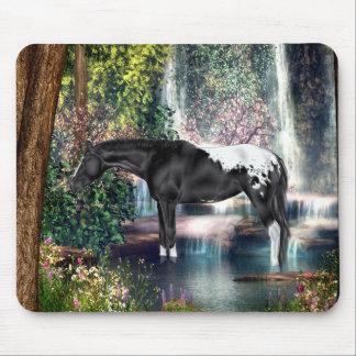 Tapis De Souris Arrière - plan noir de cascade de cheval