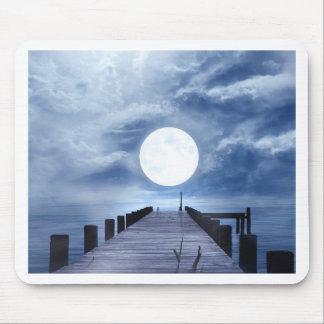Tapis De Souris art bleu de lune de lumière de ciel bel