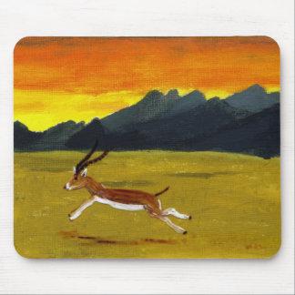 Tapis De Souris Art de faune de gazelle de coucher du soleil