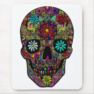 Tapis De Souris Art floral peint de crâne