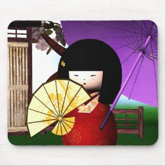 Tapis De Souris Art rouge de poupée de Kokeshi