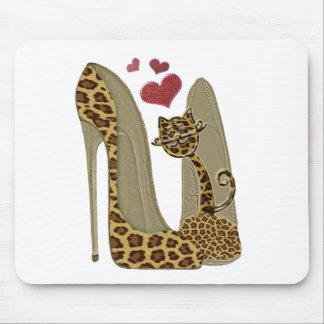 Tapis De Souris Art stylet de chaussures et de chat de léopard