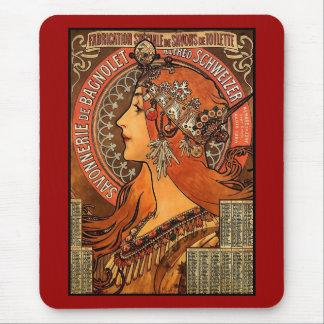 Tapis De Souris Art vintage Alfons Mucha F Champenois de Mousepad