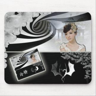 Tapis de souris Asie noir et blanc