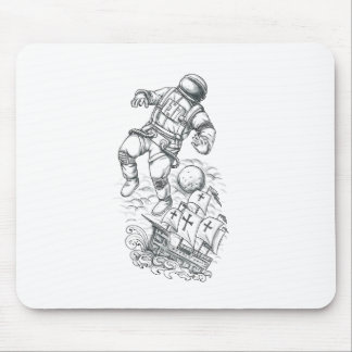 Tapis De Souris Astronaute attaché au tatouage de caravelle