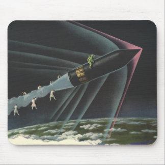 Tapis De Souris Astronaute vintage de la science-fiction montant