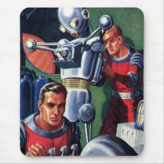 Tapis De Souris Astronautes vintages de la science-fiction fixant