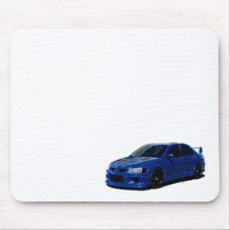 Tapis de souris au néon bleu de Mitsubishi Evo