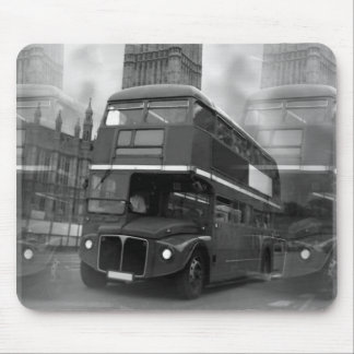 Tapis De Souris Autobus noir et blanc de BW Big Ben de Londres et