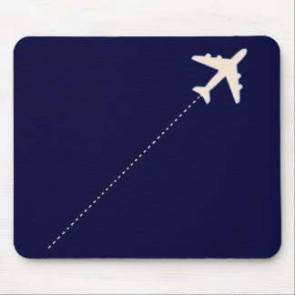 Tapis De Souris avion de voyage avec la ligne pointillée