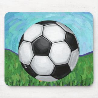 Tapis De Souris Ballon de football sur l'herbe Mousepad