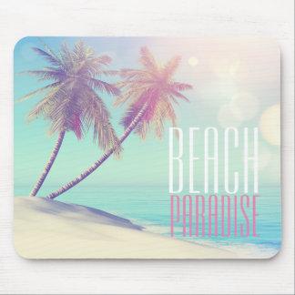 Tapis De Souris Beau rétro palmier   de paradis de plage