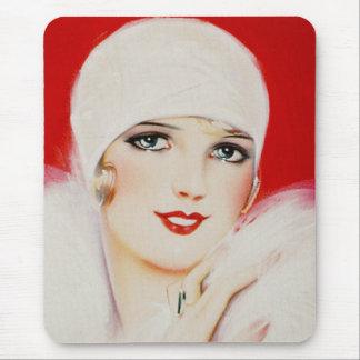Tapis De Souris Beauté d'années '20 en blanc et rouge
