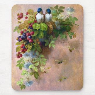 Tapis De Souris Beaux-arts d'abeilles et de baies d'oiseaux