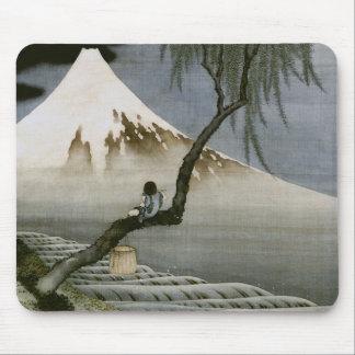 Tapis De Souris Beaux-arts de Japonais de garçon et de mont Fuji
