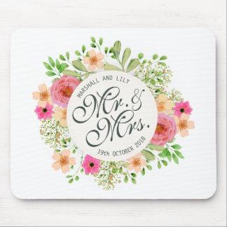 Tapis De Souris Beaux M. et Mme Floral Wedding | Mousepad