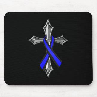 Tapis De Souris Bénissez le ruban et la croix minces de Blue Line