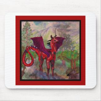 Tapis De Souris Bête à ailes par batte rouge de Pegasus de licorne