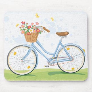 Tapis De Souris Bicyclette vintage avec le panier de fleur