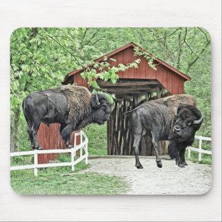 Tapis De Souris Bison américain drôle au pont couvert
