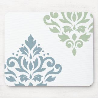 Tapis De Souris Blanc de vert bleu de l'art I de damassé de