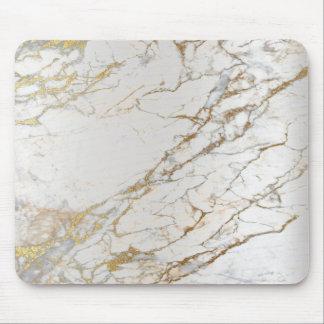 Tapis De Souris Blanc gris d'or argenté abstrait de marbre unique