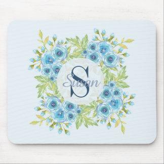 Tapis de souris bleu élégant de monogramme de