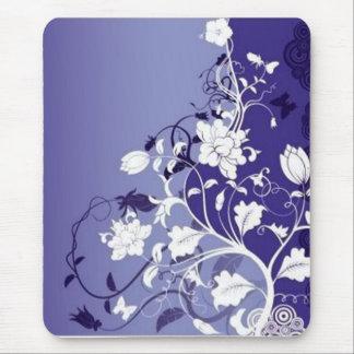 Tapis De Souris bleu-fleurs, bleu-fleurs