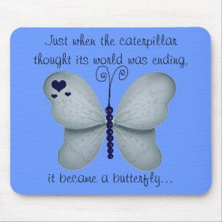 Tapis de souris bleu-foncé de papillon